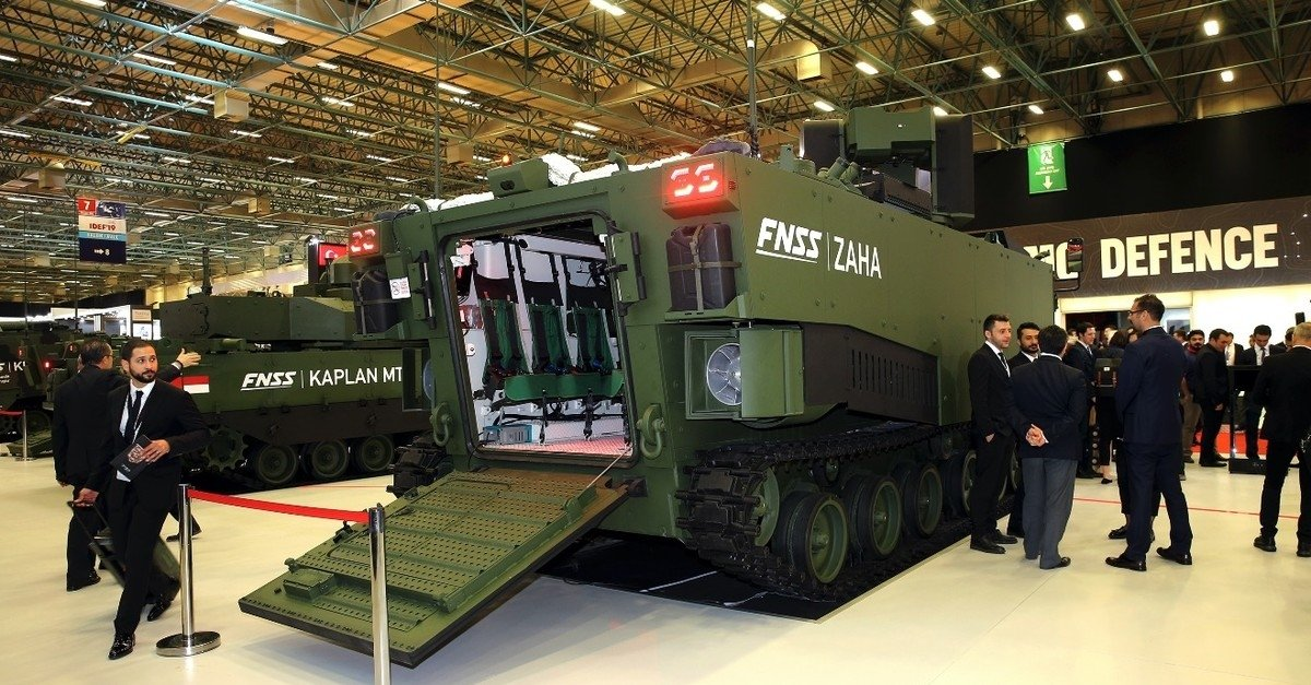 A prototype of the armored amphibious assault vehicle ZAHA manufactured by FNSS, one of Turkey's leading defense contractors, showcased at IDEF'19, Istanbul, Turkey, May 1, 2019. (AA Photo)