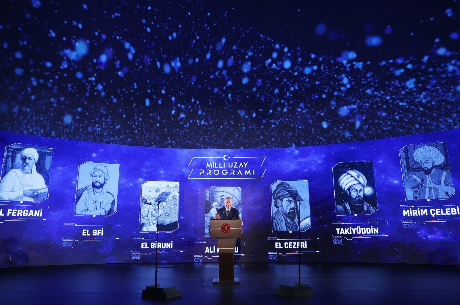 President Recep Tayyip Erdoğan speaks during the inauguration ceremony of Turkey's National Space Program in the capital Ankara, Turkey, Feb. 9, 2021. (AA Photo)