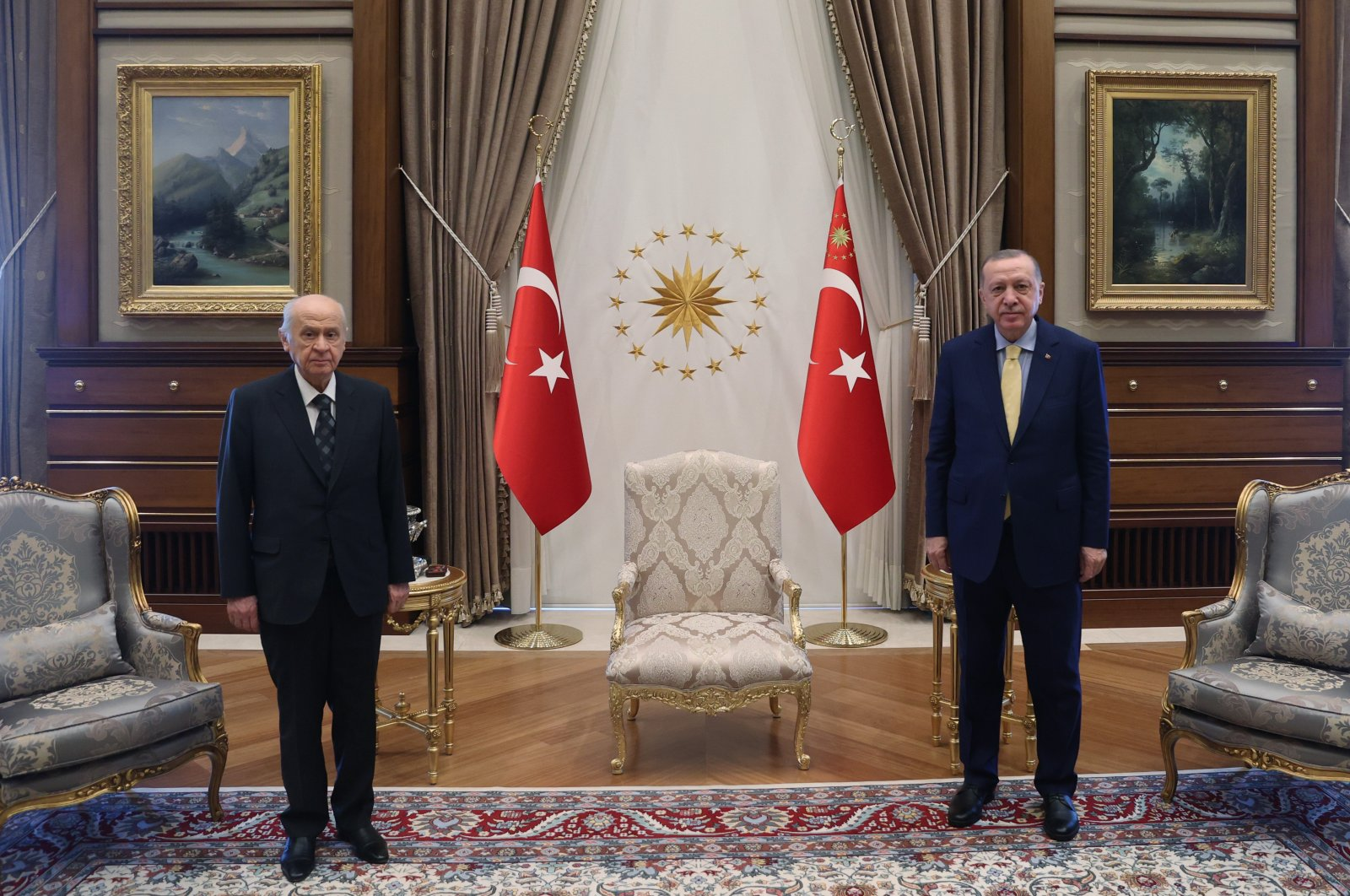 Nationalist Movement Party (MHP) leader Devlet Bahçeli (L) and President Recep Tayyip Erdoğan pose before a meeting in the Presidential Complex, the capital Ankara, Turkey, Feb. 5, 2021. (AA Photo)