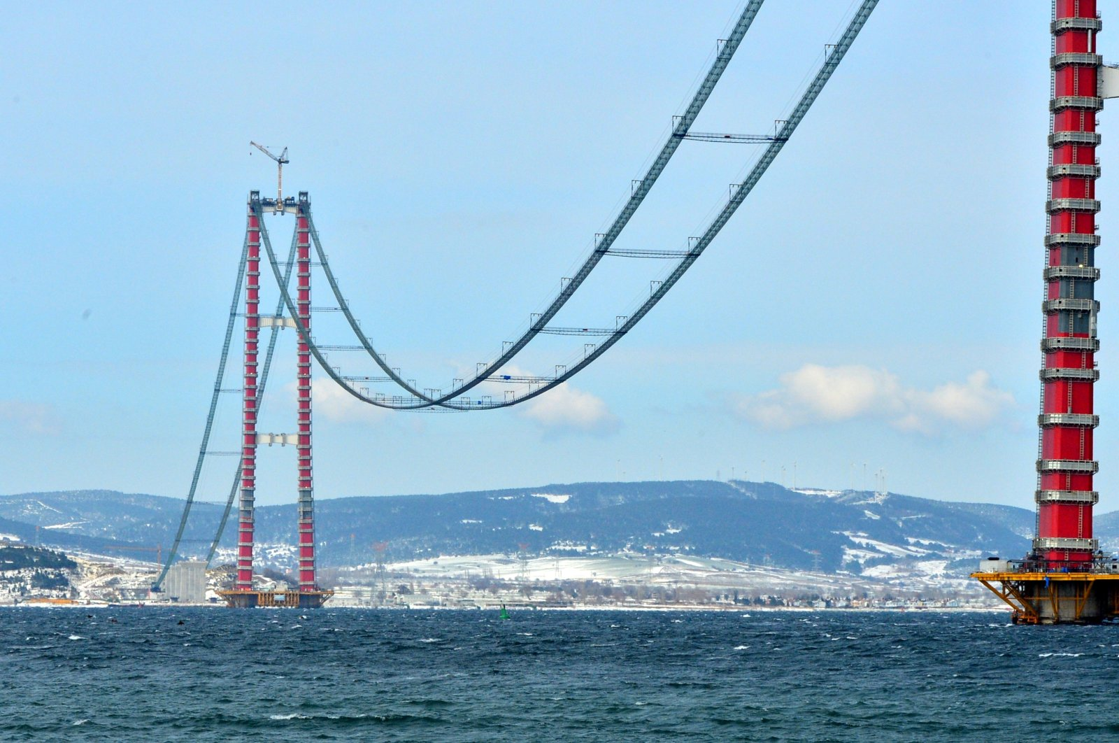 A view of the 1915 Çanakkale Bridge as construction continues in northwestern Turkey, Feb. 16, 2021. (AA Photo)