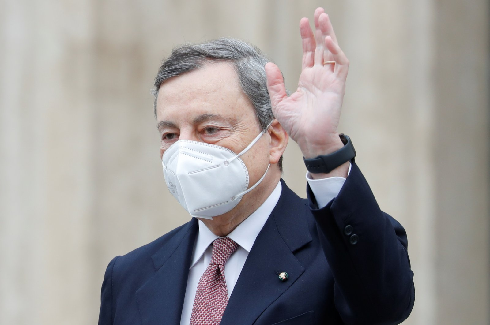 Newly installed Italian Prime Minister Mario Draghi leaves the lower house of parliament in Rome, Italy, Feb. 17, 2021. (Reuters Photo)