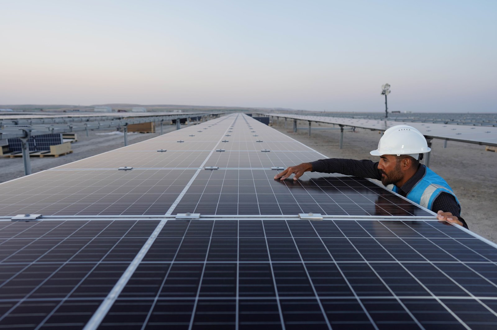 Solar panels at a solar power plant run by Kalyon Holding, in Konya, central Turkey, Sept. 29, 2020. (IHA Photo)