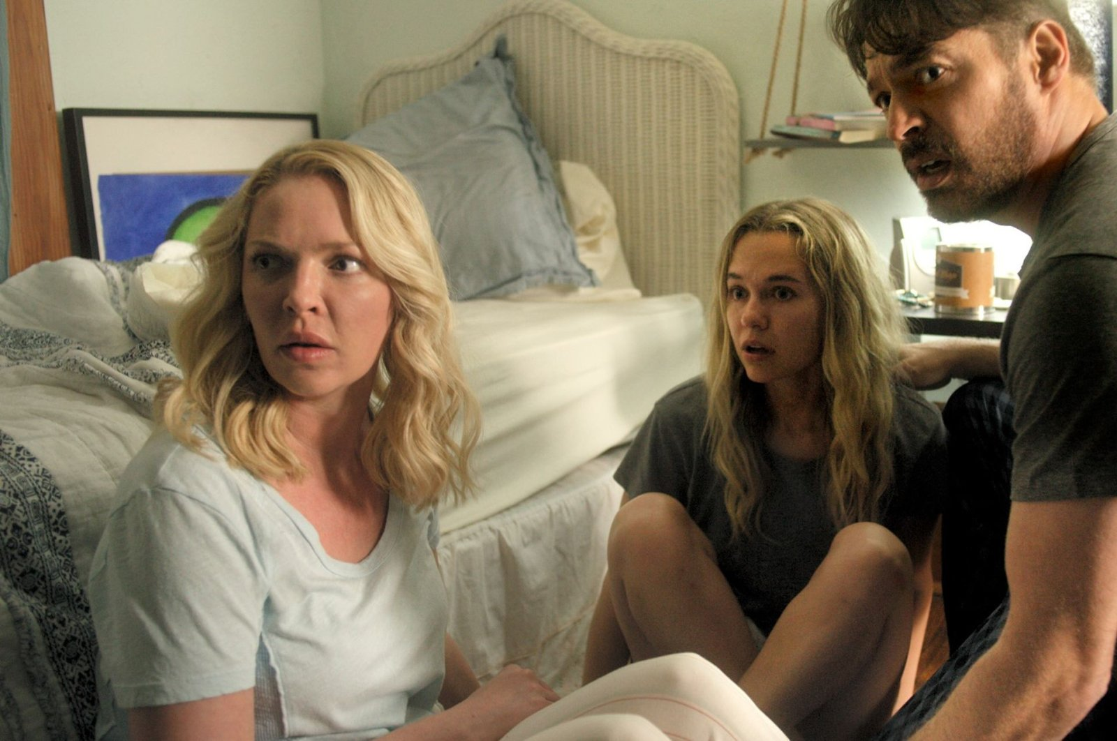 """Katherine Heigl (L), Madison Iseman (C) and Harry Connick Jr. in a scene from """"Fear of Rain."""""""