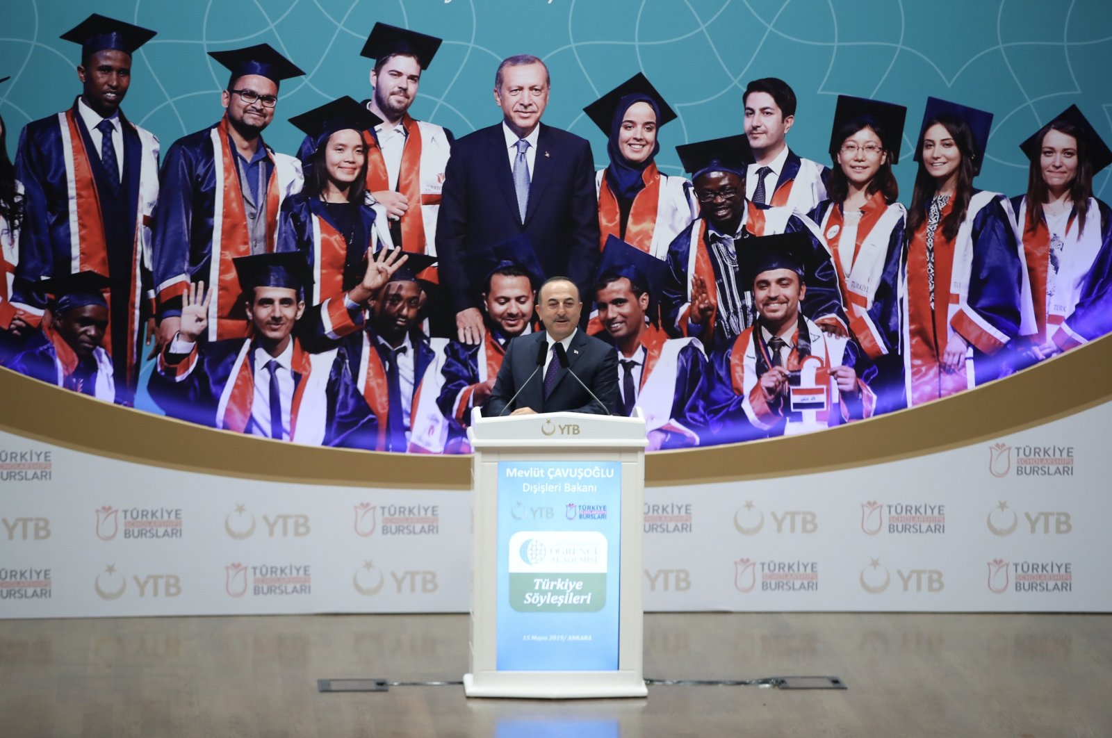 Foreign Minister Mevlüt Çavuşoğlu addresses international students who benefited from the Türkiye Scholarships program during a conference in the capital Ankara, Turkey, May 16, 2019. (AA Photo)