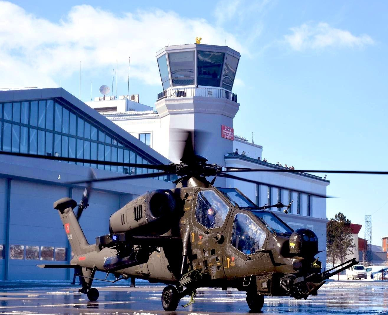 The first ATAK helicopter delivered to the Security General Directorate is seen in a photo provided on Feb. 17, 2021. (IHA Photo)