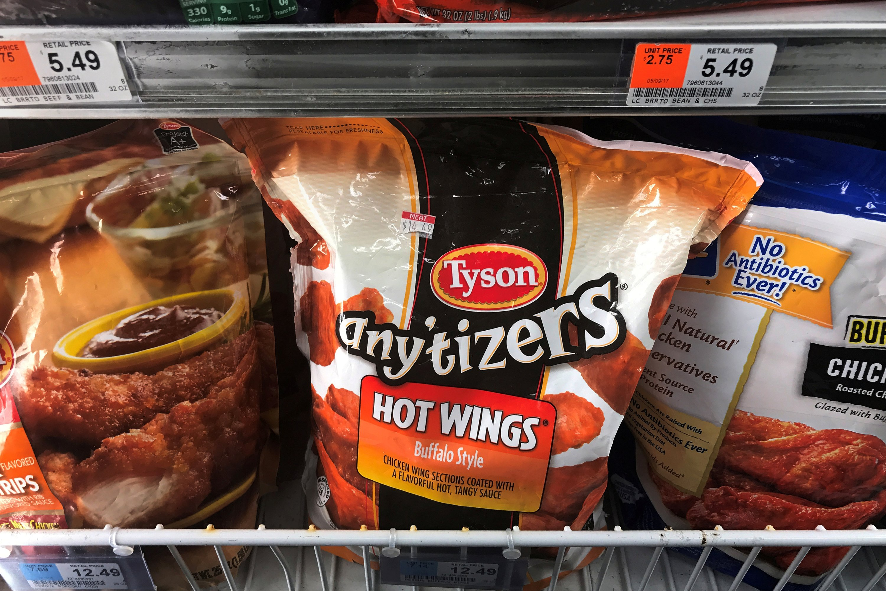 Tyson Foods brand frozen chicken wings are pictured in a grocery store freezer in the Manhattan borough of New York City, U.S. May 11, 2017. (REUTERS Photo)