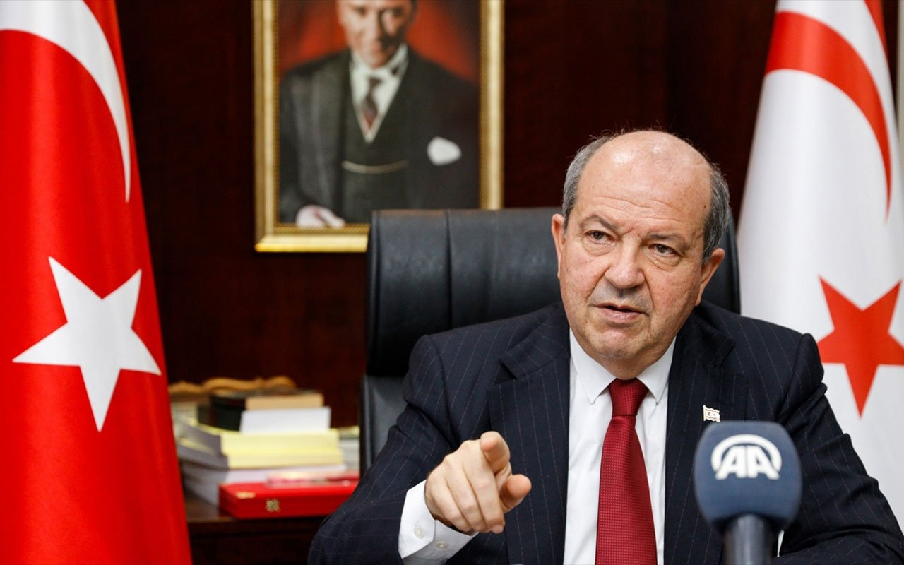 Turkish Republic of Northern Cyprus President Ersin Tatar speaks in an interview with Anadolu Agency (AA), Feb. 9, 2021. (AA Photo)