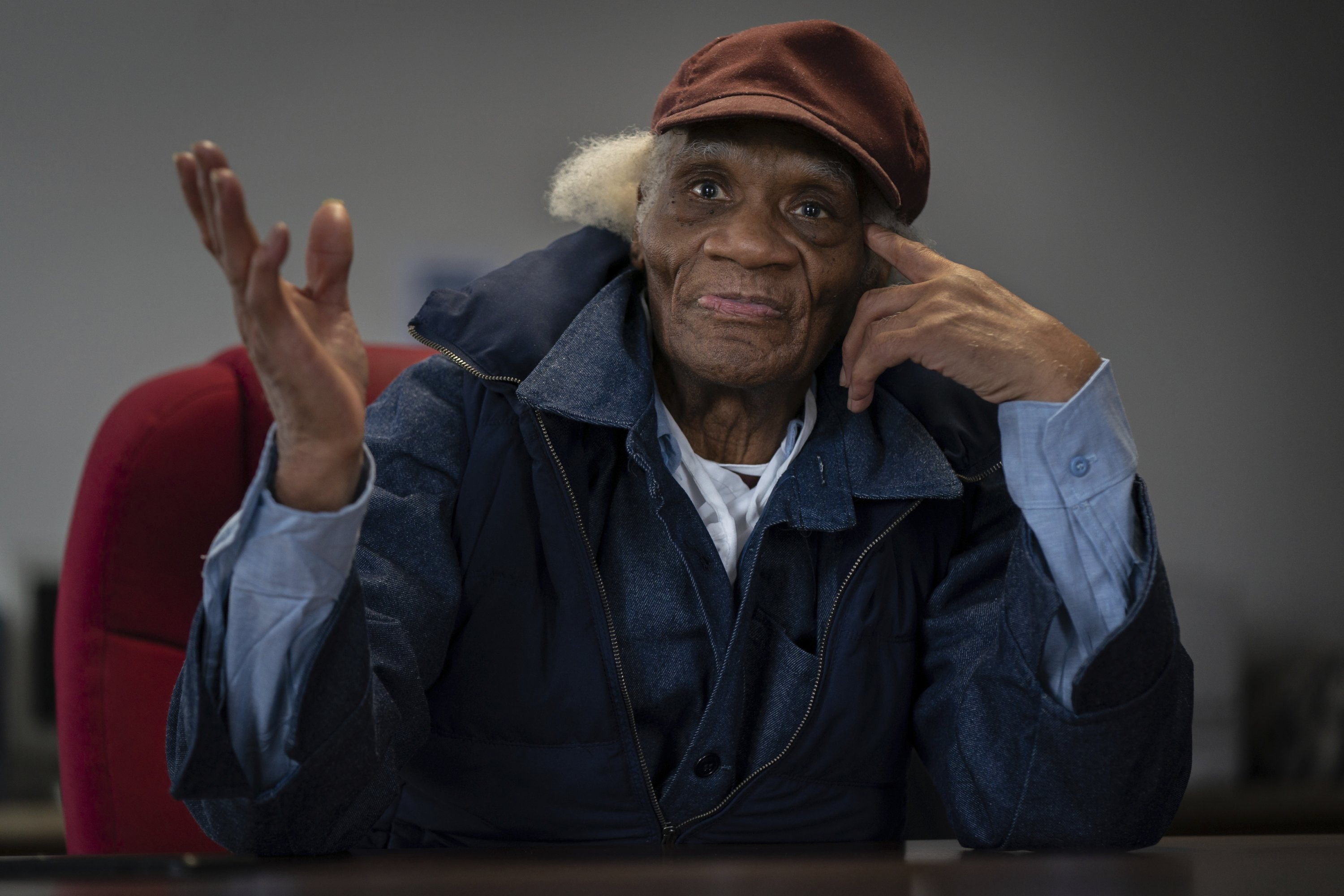 Joe Ligon, the oldest juvenile lifer of the US, speaks with the media in his lawyer's office at the Defender Association of Philadelphia after being released from prison, in Center City, Feb. 11, 2021. (The Philadelphia Inquirer via AP)