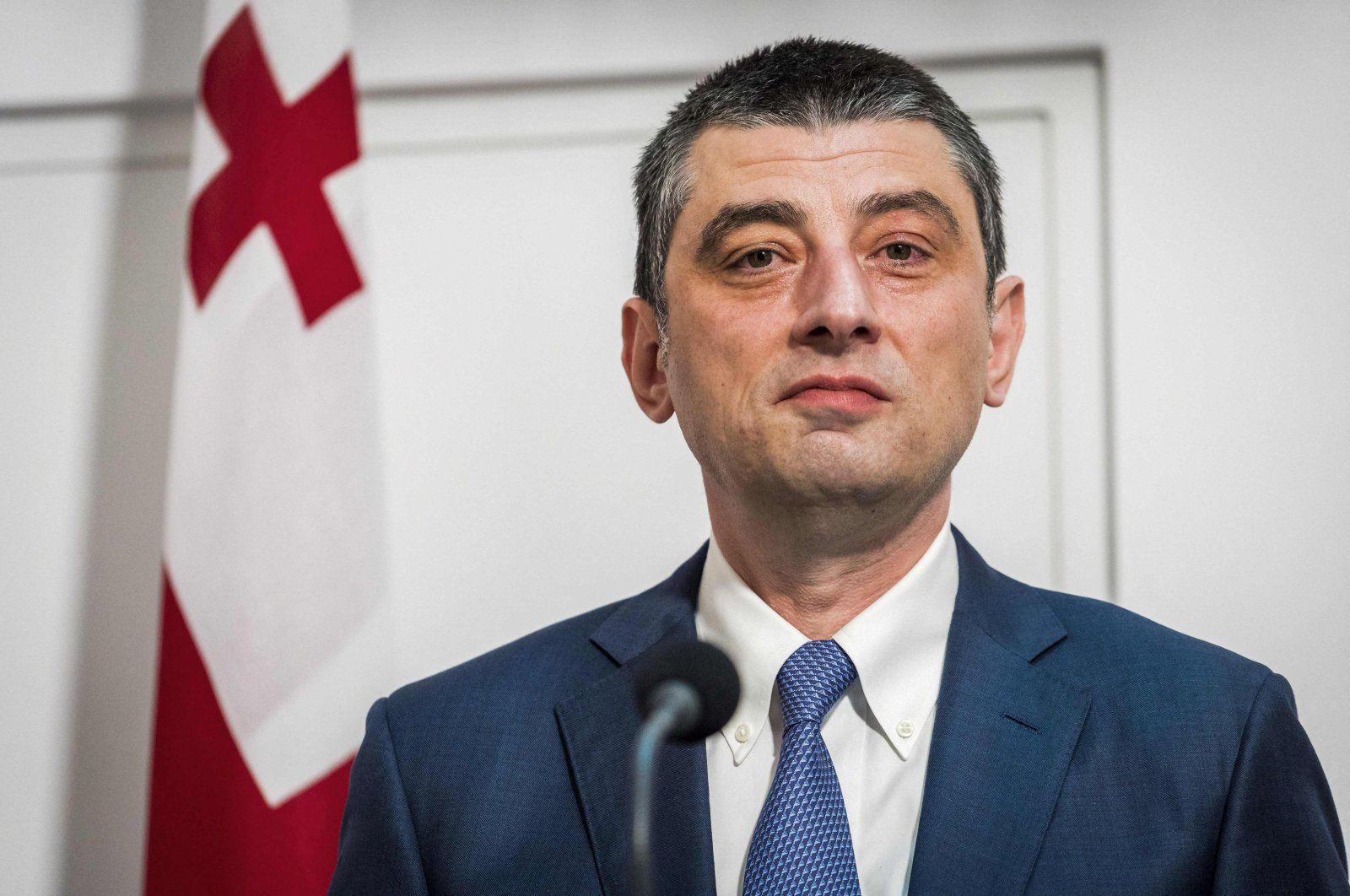Georgia's Prime Minister Giorgi Gakharia attends a press conference at the Catshuis prior to a bilateral meeting and a working dinner, in The Hague, Netherlands, Nov. 4, 2019. (AFP Photo)