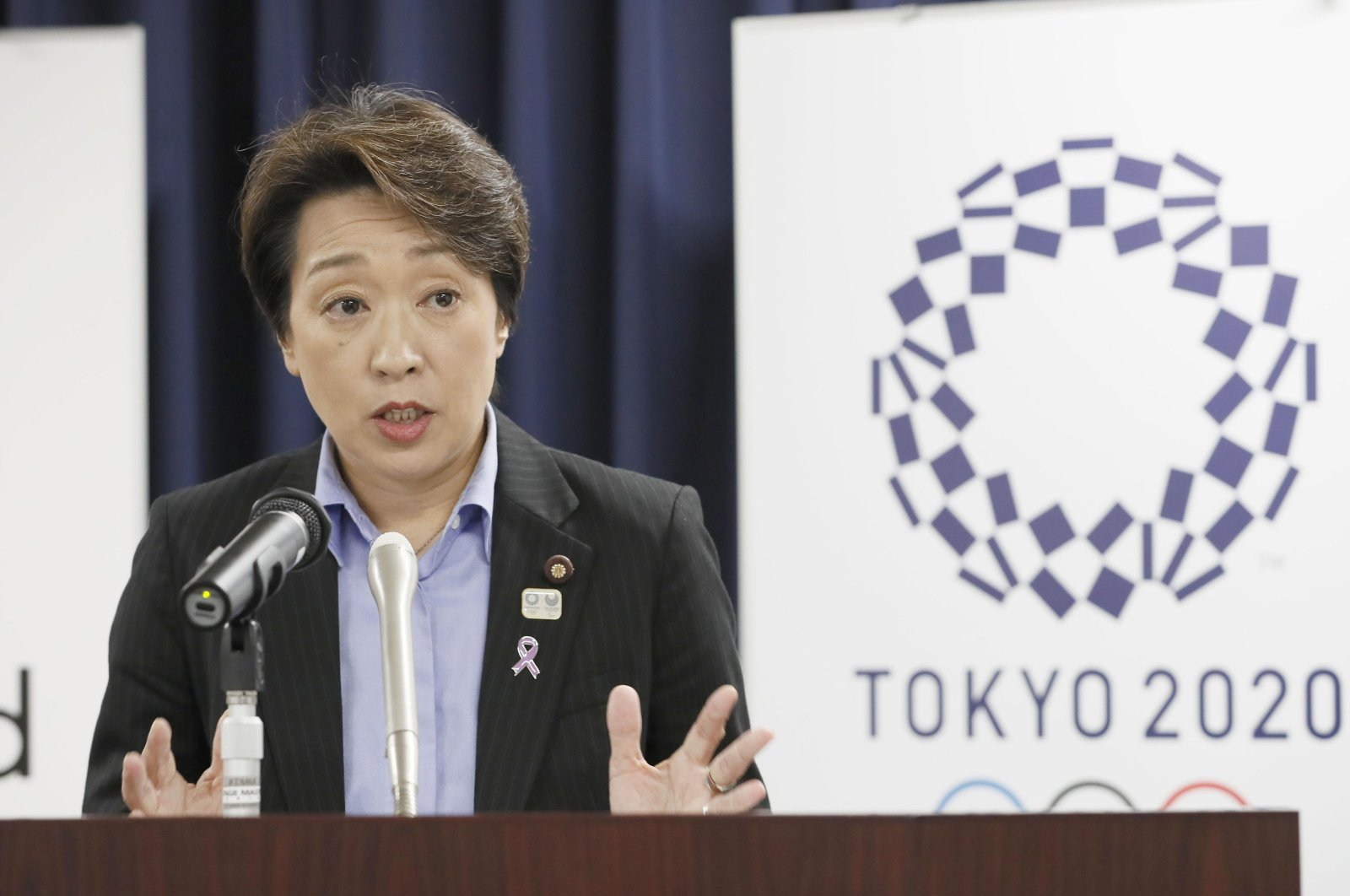 Japan's Olympics Minister Seiko Hashimoto speaks during a news conference at the Cabinet office in Tokyo, Japan, Sept. 19, 2019. (Kyodo News via AP)