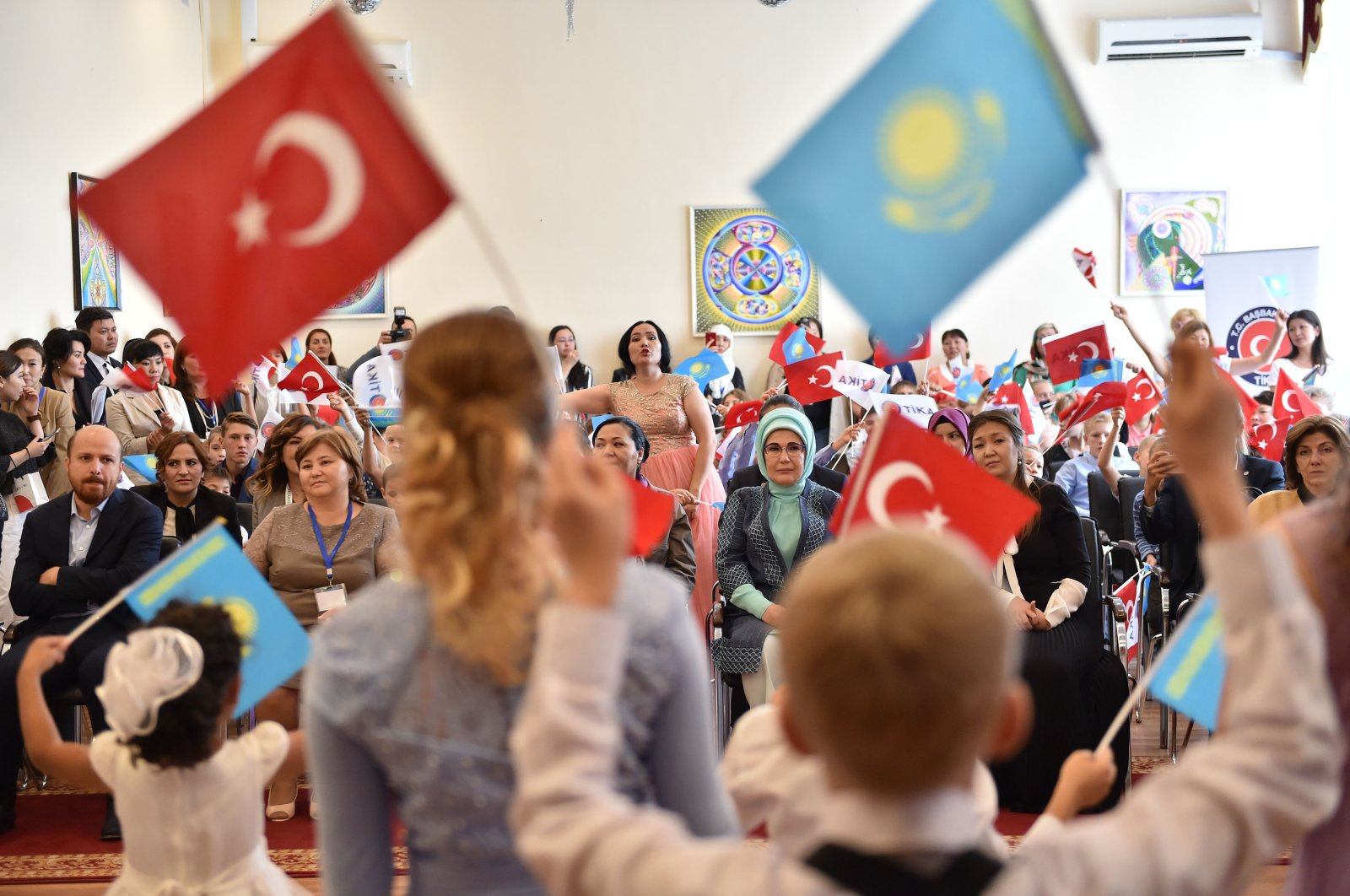 First lady Emine Erdoğan visits a child care center in Nur-Sultan, Kazakhstan, Sept. 9, 2017. (Sabah Photo)