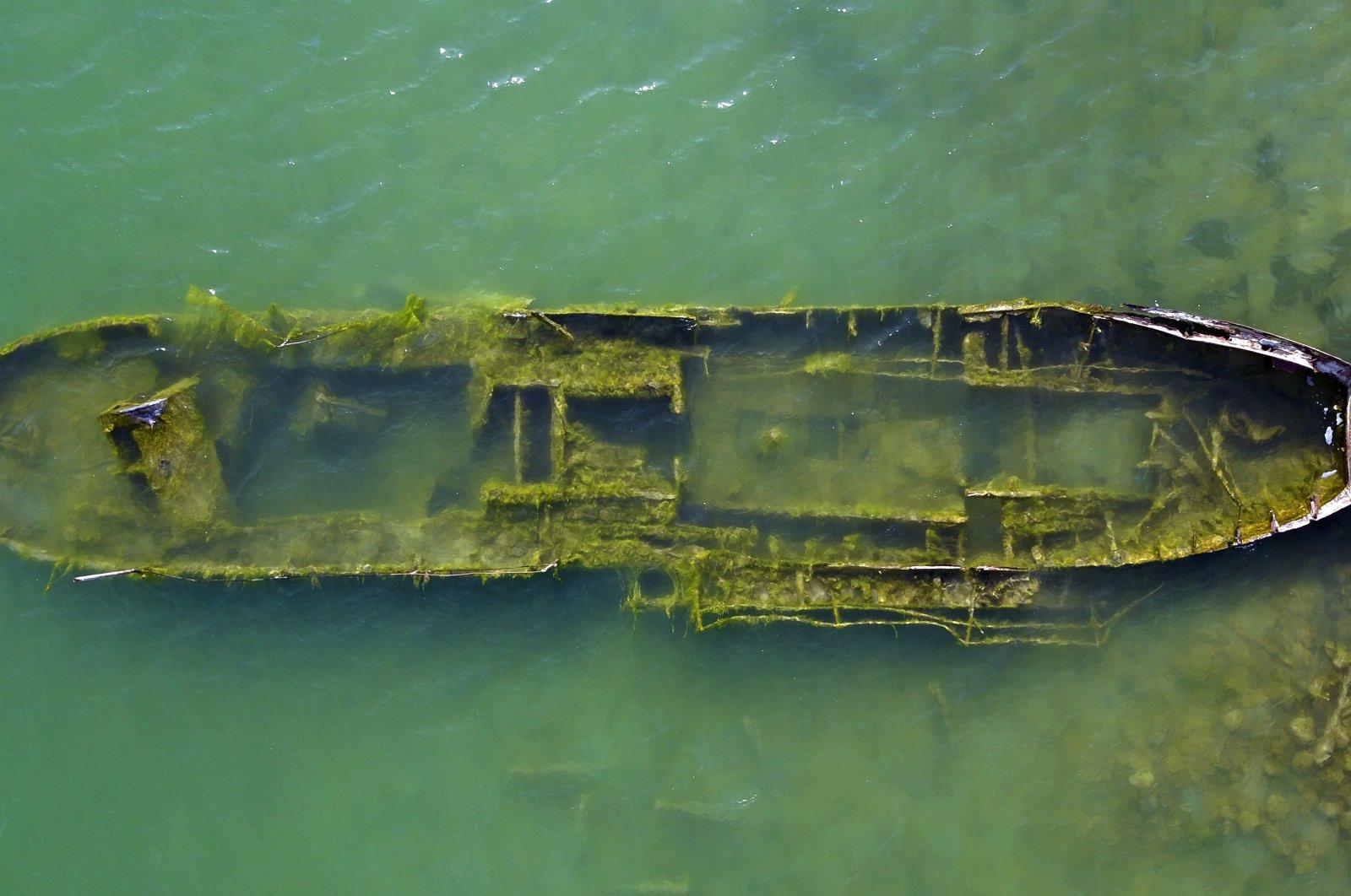 The recently revealed sunken ship in Lake Van, in Van province, eastern Turkey, Feb. 17, 2021. (AA Photo)