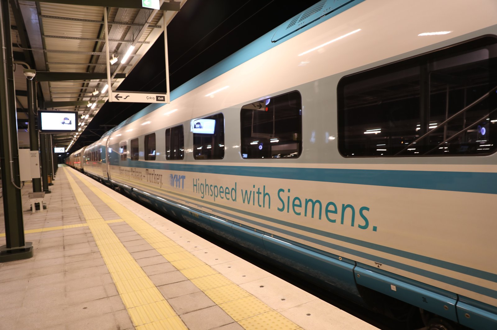 The high-speed train produced by Siemens for the TCDD waits on the tracks in the capital Ankara, Turkey, Feb. 18, 2021. (Courtesy of Transport and Infrastructure Ministry via AA)