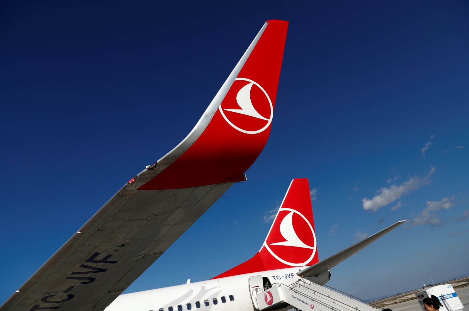 Turkish Airlines logo on a Boeing 777-800 at Hatay Airport, Hatay, southeastern Turkey, March 1, 2020. (Reuters Photo)