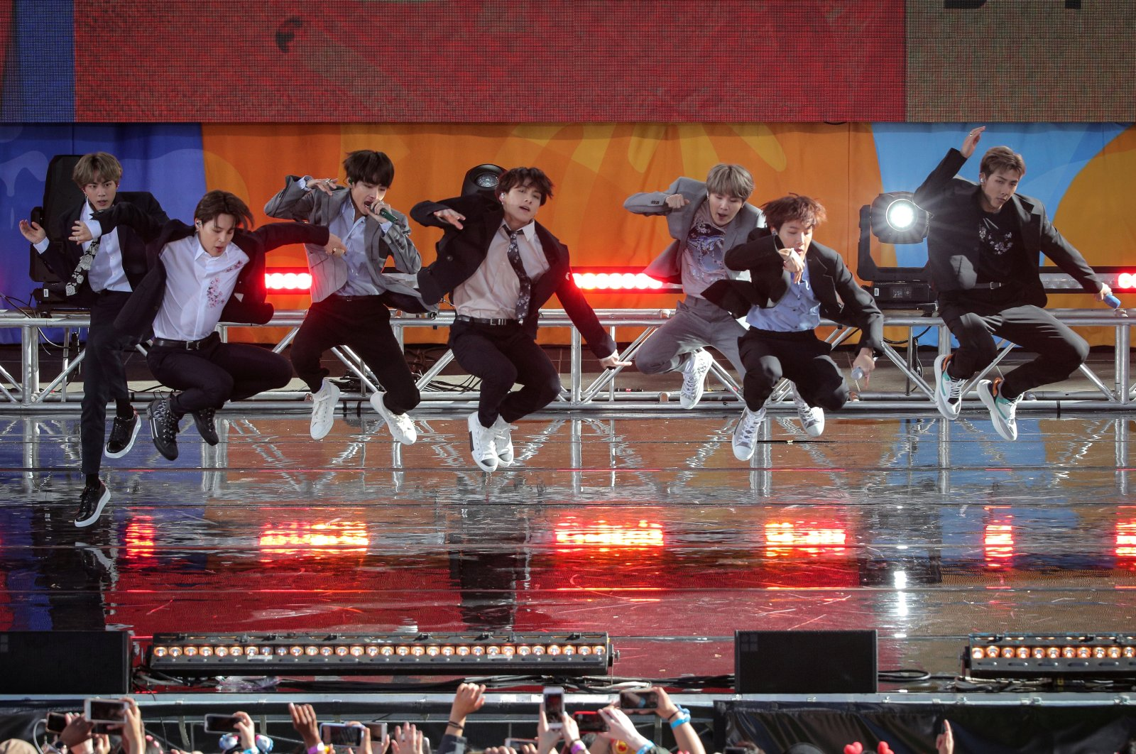 """Members of K-Pop band """"BTS"""" perform on ABC's 'Good Morning America' show in Central Park in New York City, U.S., May 15, 2019. (Reuters Photo)"""