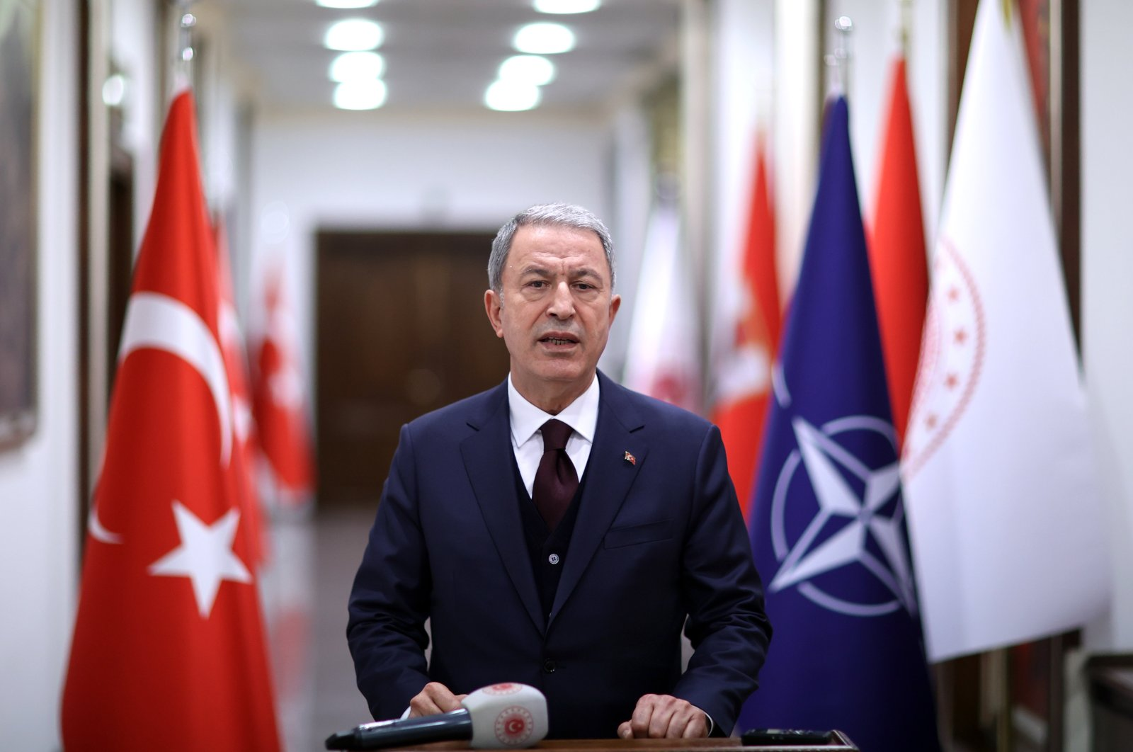 Turkey's Defense Minister Hulusi Akar holding a press conference after the NATO meeting, Ankara, Turkey, Feb. 18, 2021. (AA Photo)