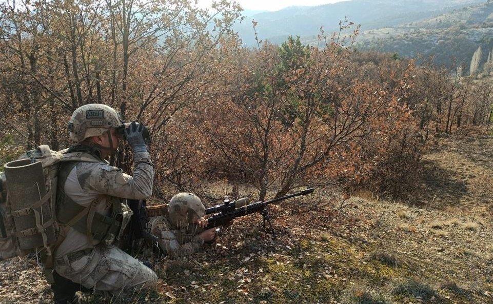 Turkish soldiers during an operation against PKK terrorists in central Sivas province, Turkey, Jan. 5, 2021.
