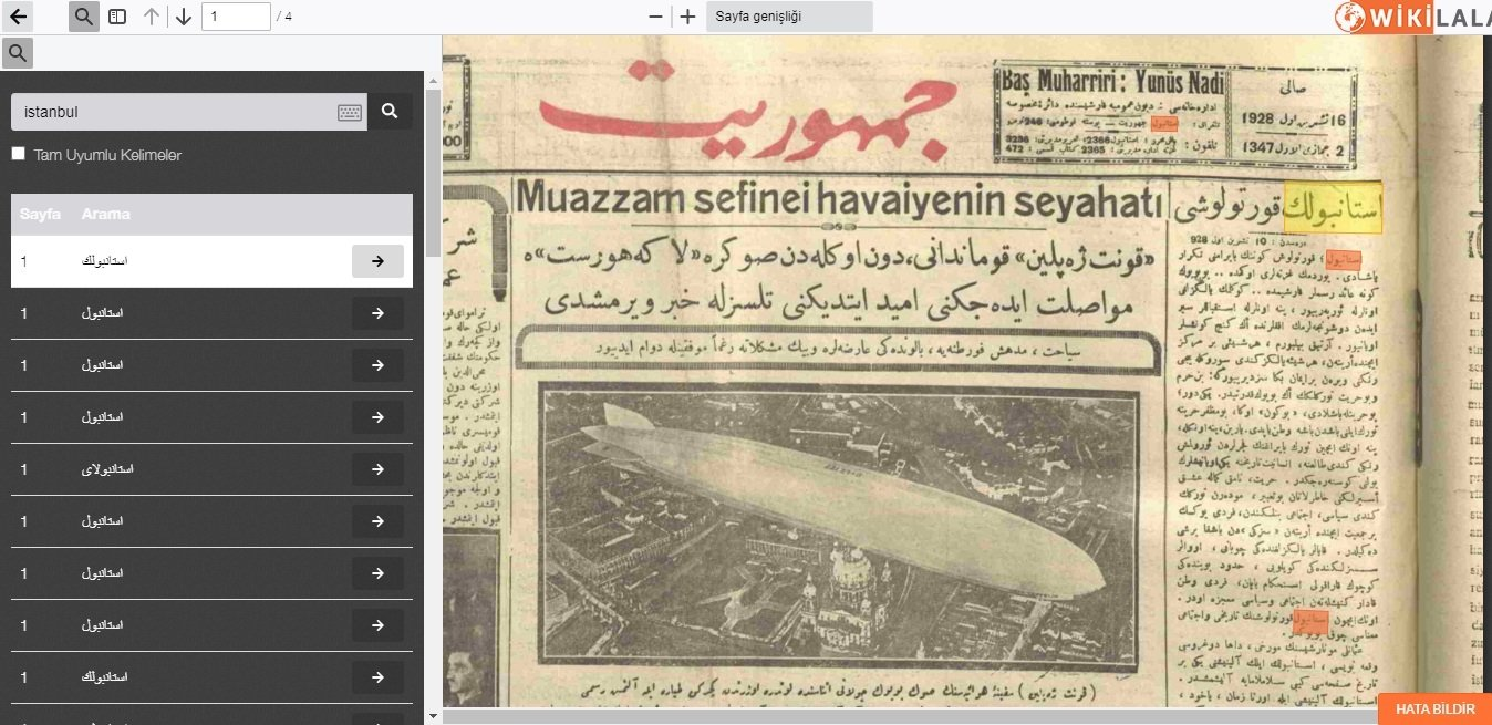 "A screenshot from the website ""WikiLala"" shows the front page of the Ottoman newspaper Cumhuriyet, with the keyword ""Istanbul"" highlighted, in an issue from 1928, obtained on Feb. 19, 2021. (AA Photo)"