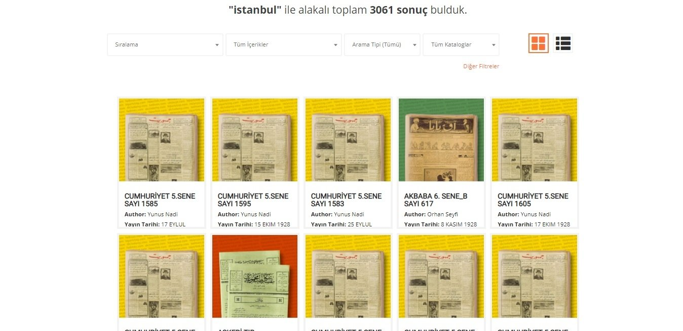 A screenshot from WikiLala showing the results of the Ottoman newspaper Cumhuriyet issues that contain the keyword