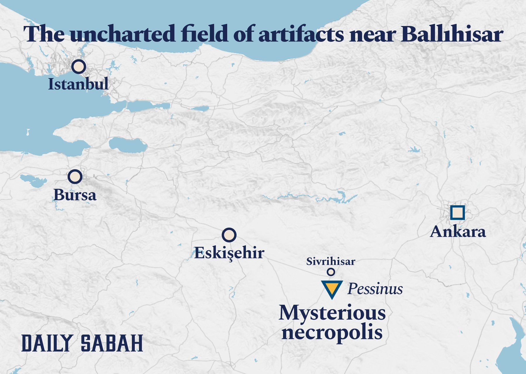 The mysterious necropolis' coordinates are 39.338851, 31.584014. (Infographic by Daily Sabah)