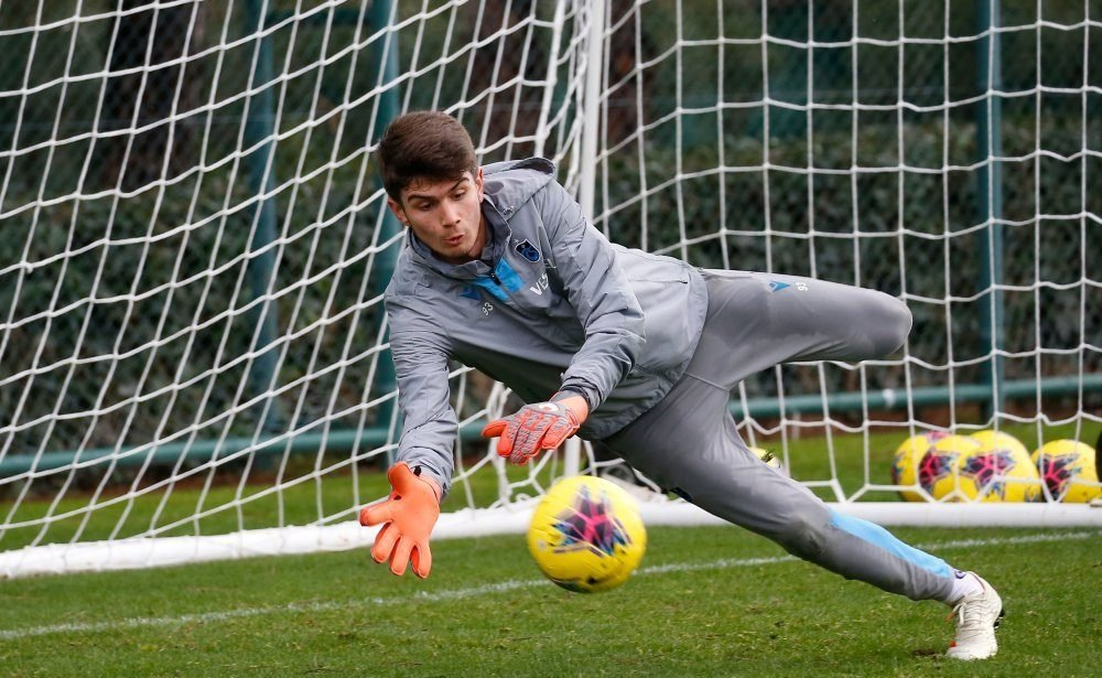 Trabzonspor's 18-year-old goalkeeper Kağan Moradaoğlu attends a training session in this undated photo.