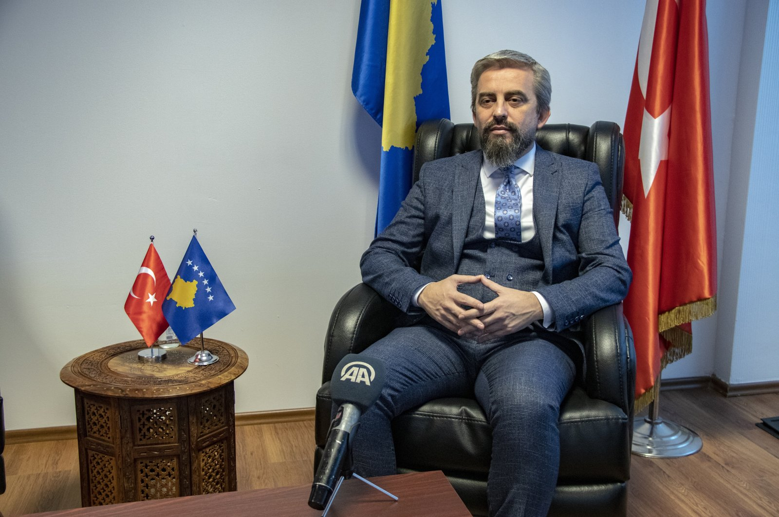 Kosovo's Regional Development Minister Enis Kervan speaks to Anadolu Agency (AA) in Pristina, Kosovo, Feb. 12, 2021 (AA Photo)