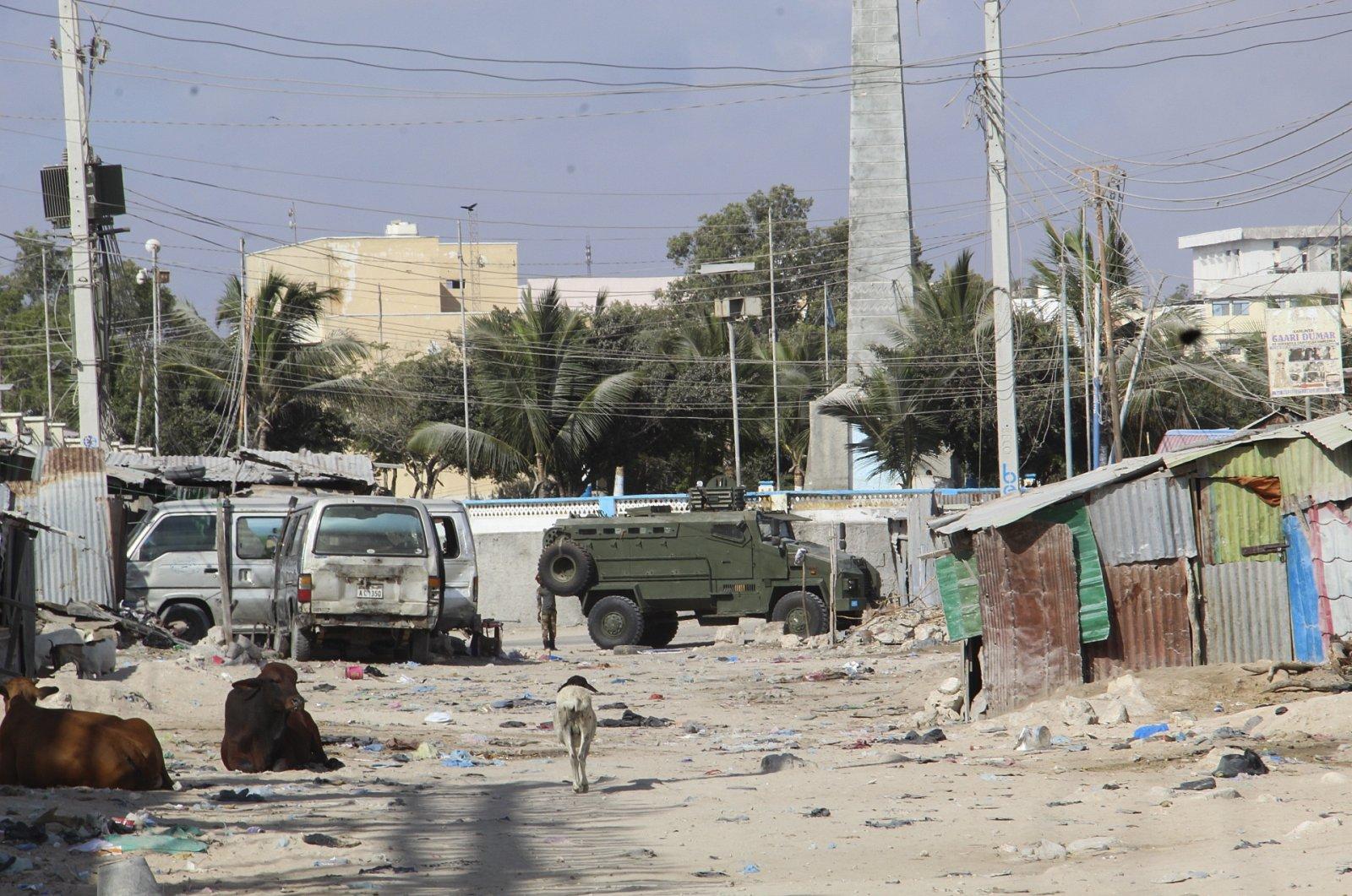 Somali military forces seal off a road near the Somali presidential palace in Mogadishu, Somalia, Feb. 19, 2021. (EPA Photo)
