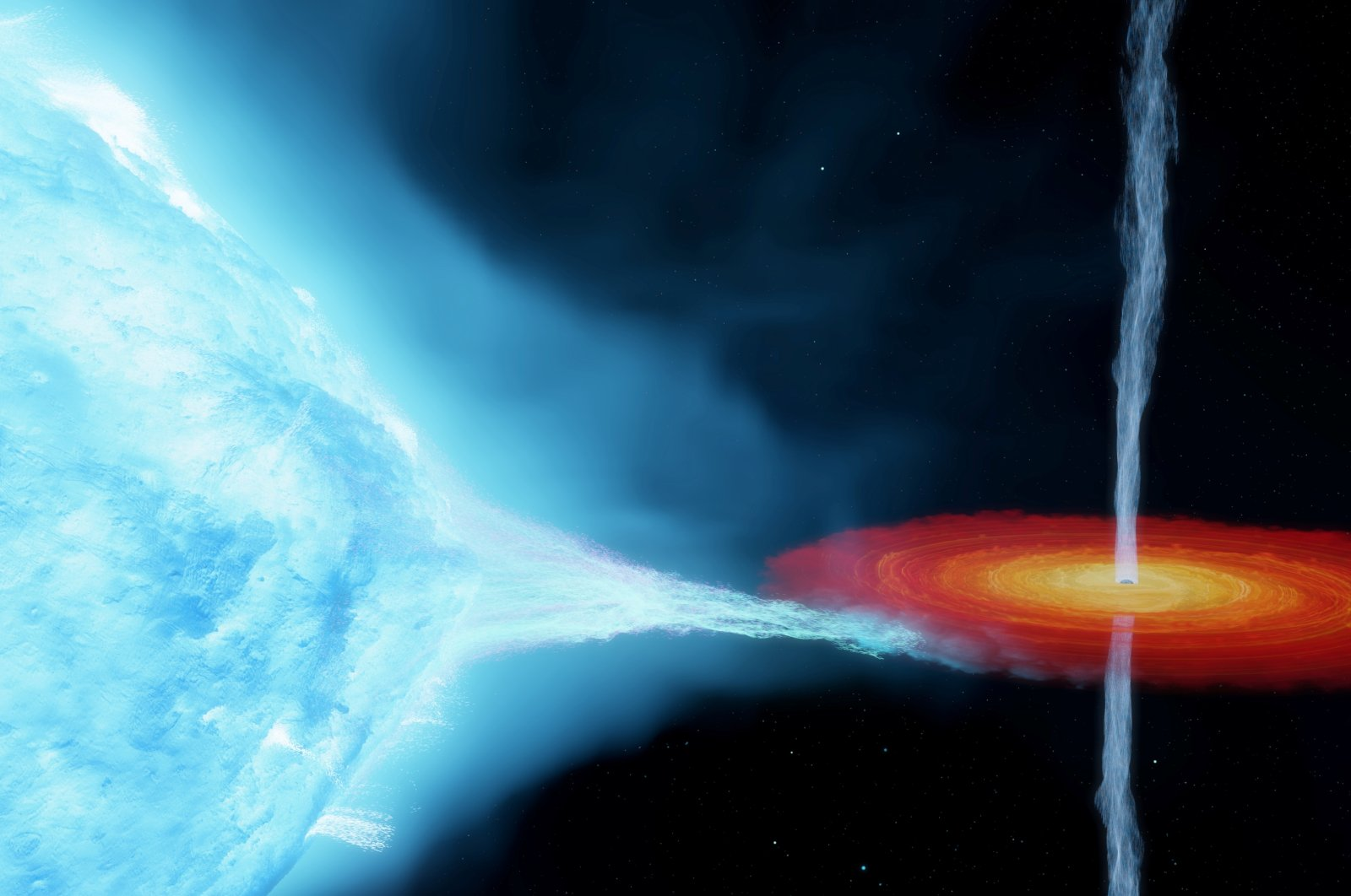 An artist's impression of the Cygnus X-1 system, with a so-called stellar-mass black hole orbiting a companion star some 7,200 light-years from Earth.  (International Centre for Radio Astronomy Research via Reuters)