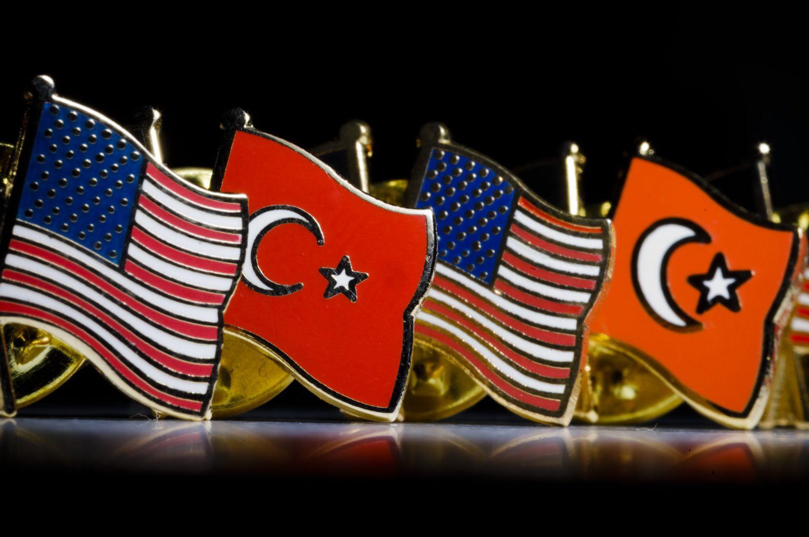 Pins with the national flags of Turkey and the United States are on display in Berlin, Germany, Feb. 18, 2019. (Photo by Getty Images)