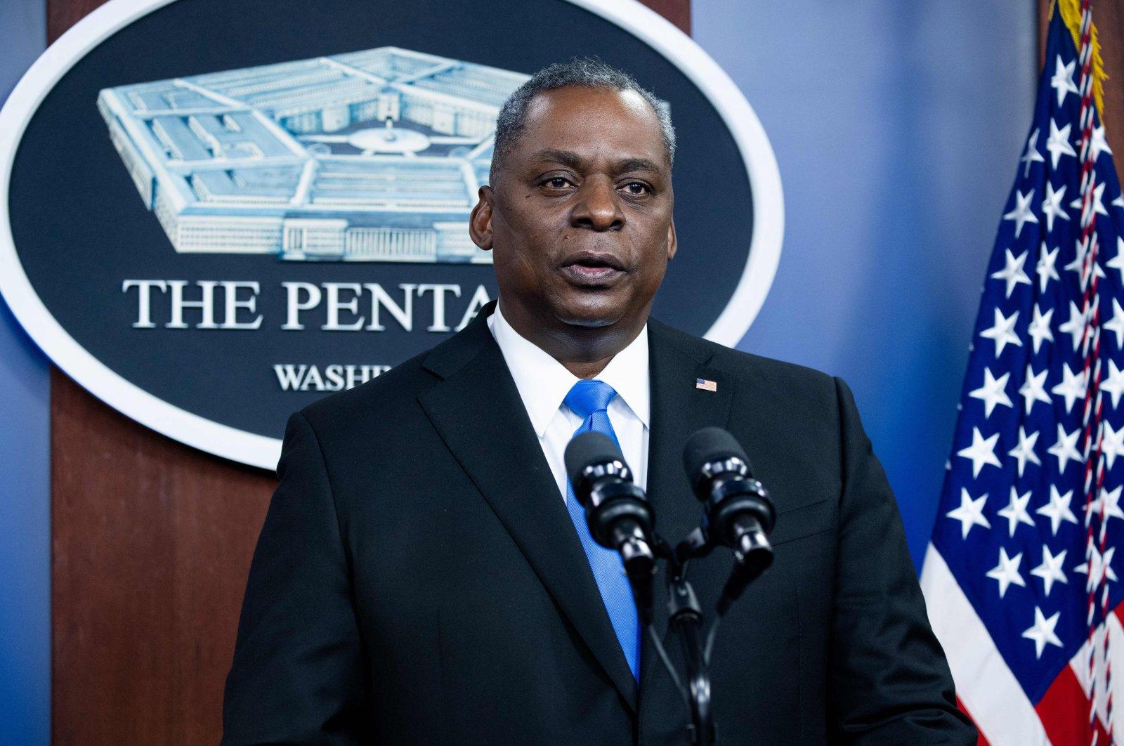U.S. Secretary of Defense Lloyd Austin speaks during a visit by U.S. President Joe Biden to the Pentagon in Washington, D.C., Feb. 10, 2021. (AFP Photo)