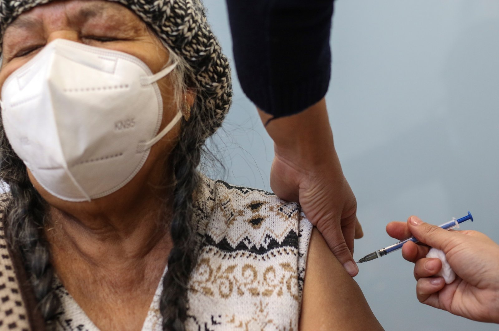 An elderly woman receives the vaccine against COVID-19, at a hospital in the state of Guanajuato, Mexico, Feb. 15, 2021. (EPA Photo)