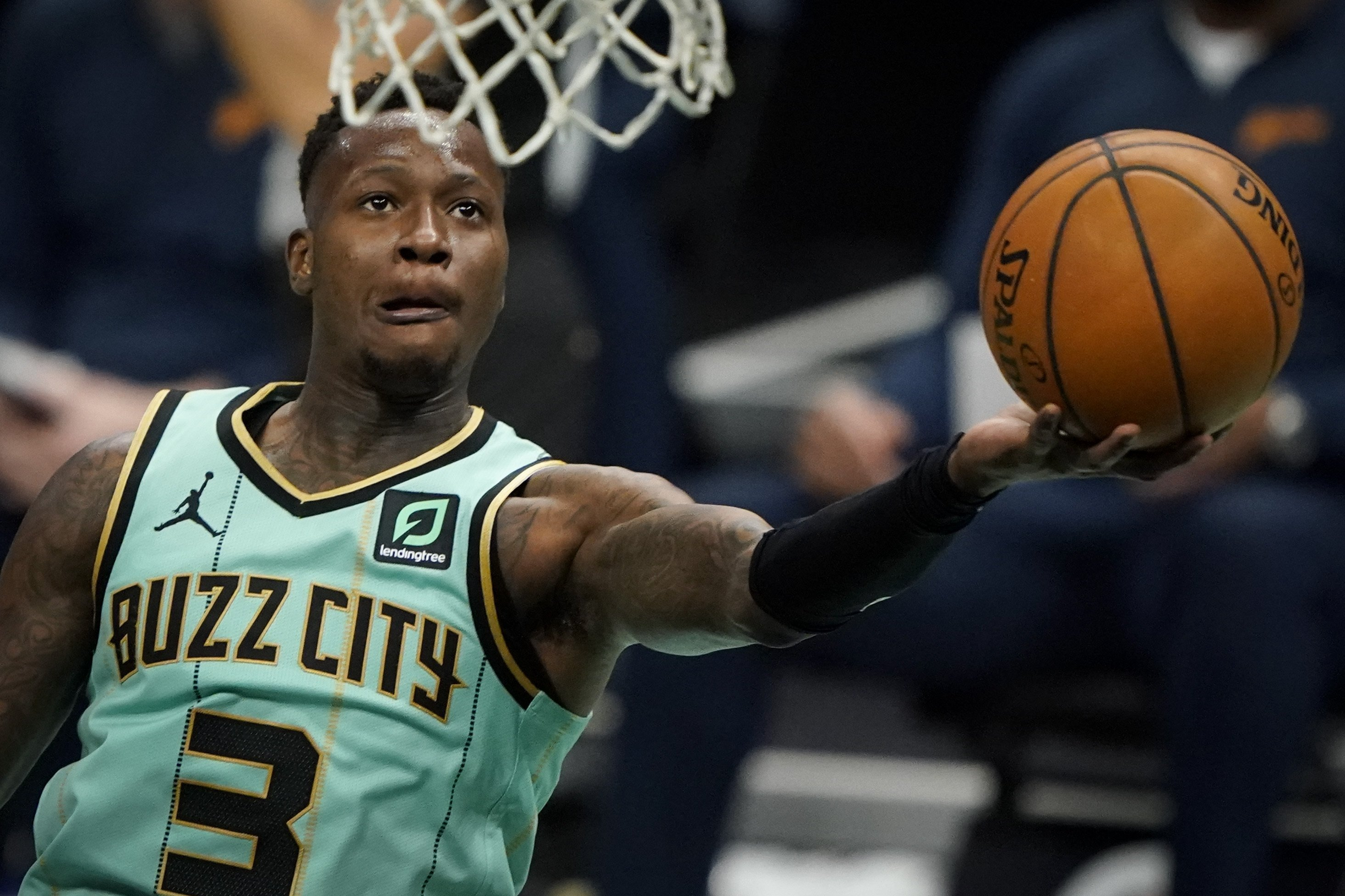 Charlotte Hornets guard Terry Rozier shoots against the Golden State Warriors during an NBA game, in Charlotte, North Carolina, Feb. 20, 2021. (AP Photo)