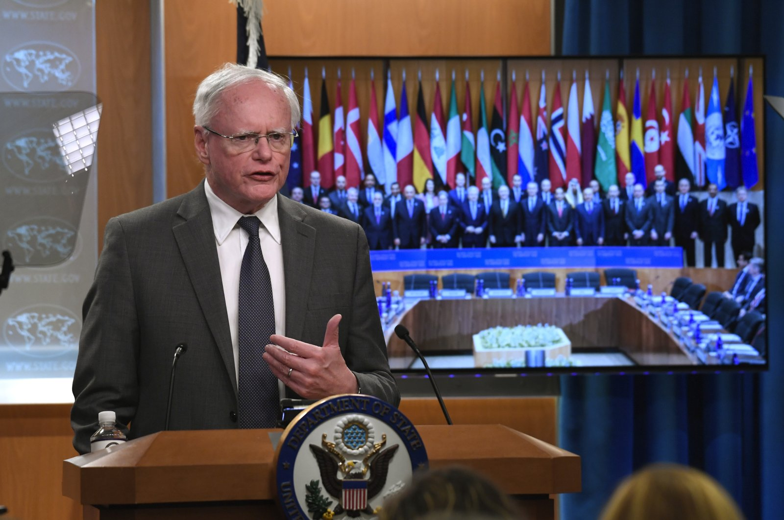 The U.S.' former envoy to Syria James Jeffrey speaks during a news conference at the State Department in Washington, D.C., U.S., Nov. 14, 2019. (AP Photo)