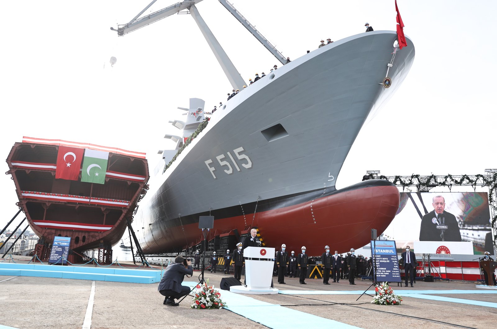 President Recep Tayyip Erdoğan during a speech at the groundbreaking of the third ship to be constructed for the Pakistani navy under the MILGEM project, Istanbul, Jan. 23, 2021. (AA Photo)