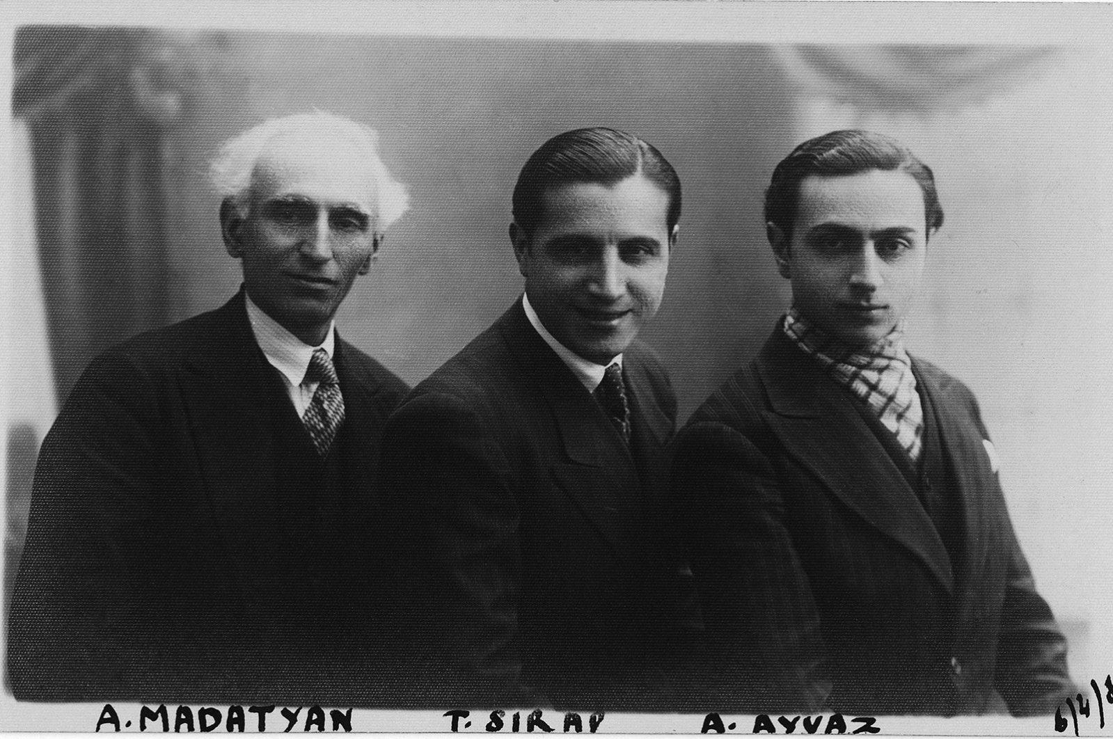 A photo of Aşod Madatyan (L), Torkom Sırabyan (C) and  Hagop Ayvaz  in 1934. (Courtesy of Yapı Kredi Culture Arts)