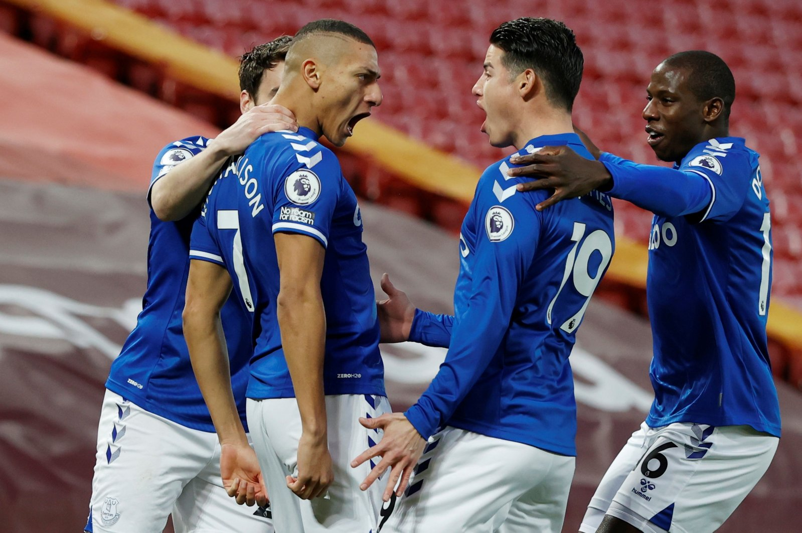 Everton's Richarlison celebrates scoring his team'sfirst goal in the Premier League matchagainst Liverpool,Anfield, Liverpool, Britain,Feb. 20, 2021. (Reuters Photo)