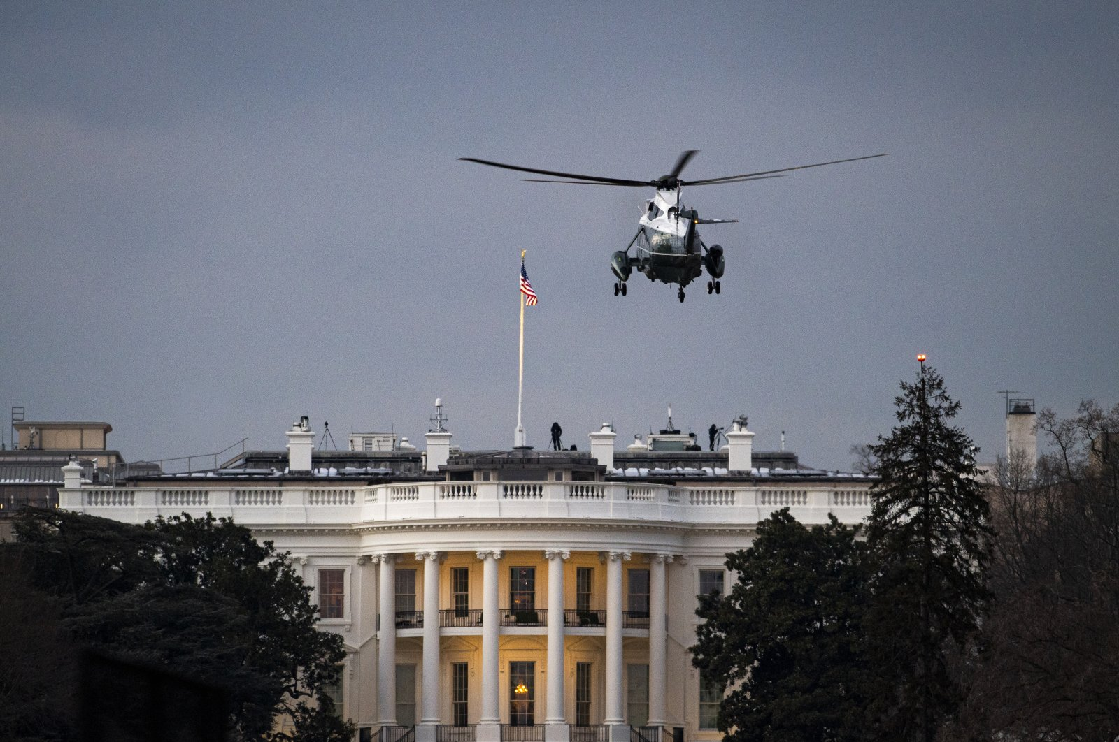 Marine One, with U.S. President Joe Biden on board, approaches the White House, Washington, D.C., the U.S., Feb. 19, 2021. (Photo by Getty Images)