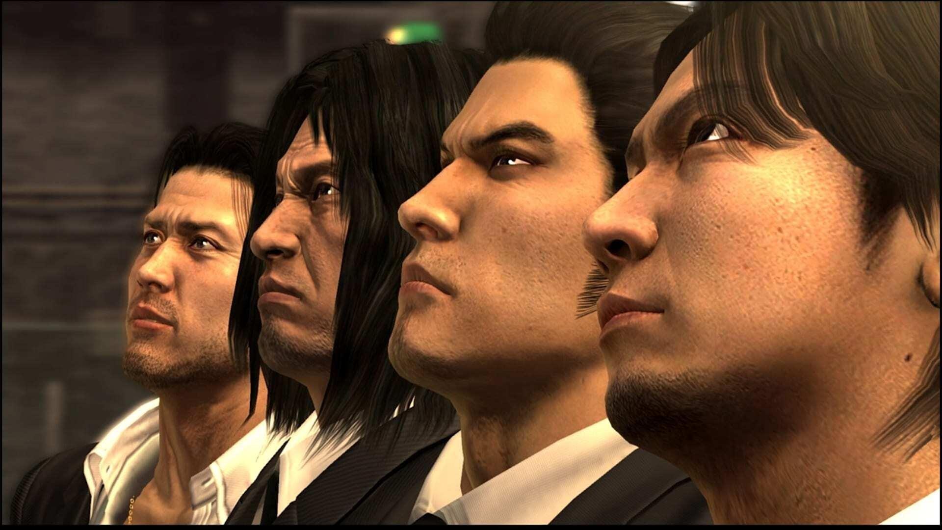 From left to right: Shun Akiyama, Taiga Saejima, Kazuma Kiryu and Masayoshi Tanimura about to face the final stage in Yakuza 4. (Image credit: SEGA)