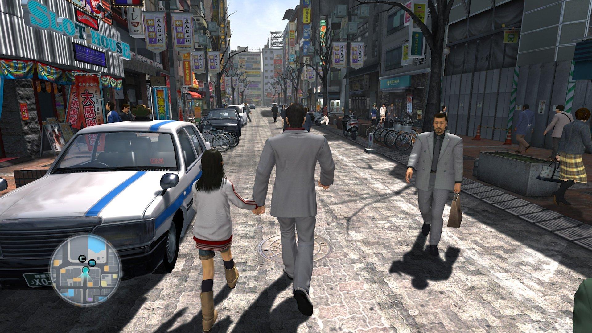 Walking the streets with an older Haruka in Yakuza 3. (Image credit: SEGA)