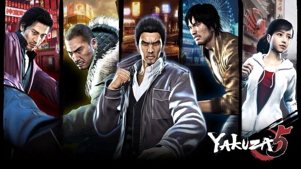 The line-up for Yakuza 5, from left to right: Shun Akiyama, Taiga Saejima, Kazuma Kiryu, Tatsuo Shinada and Haruka Sawamura. (Image credit: SEGA)