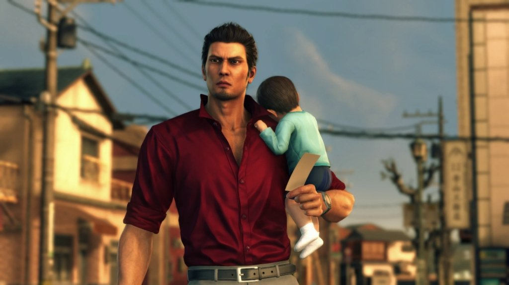 Kiryu takes care of Haruto while trying to unravel the mystery surrounding him in Yakuza 6. (Image credit: SEGA)