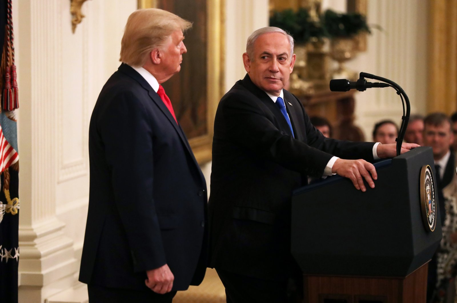 Israeli Prime Minister Benjamin Netanyahu (R) and U.S. President Donald Trump speak during a press conference, at the White House, Washington, D.C., U.S., Jan. 28, 2020. (Photo by Getty Images)