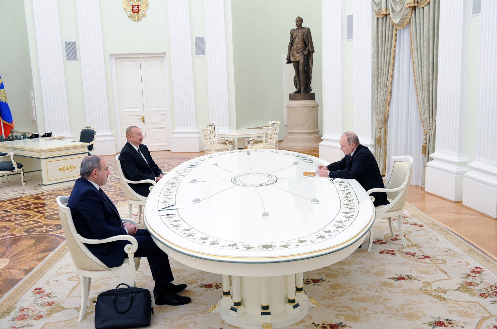 Russia's President Vladimir Putin meets with Azerbaijan's President Ilham Aliyev and Armenia's Prime Minister Nikol Pashinian to discuss the implementation of the cease-fire over Nagorno-Karabakh reached on Nov. 9 and measures to solve problems in the region, in Moscow, Russia, Jan. 11, 2021. (Reuters Photo)