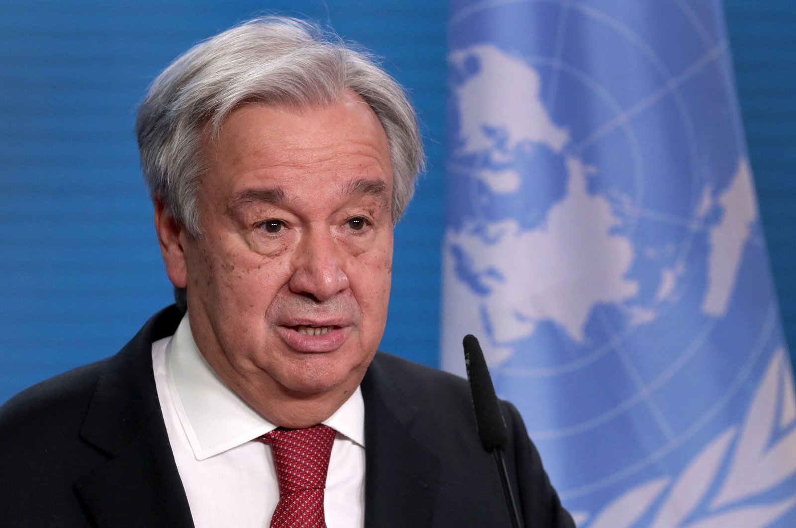 U.N. Secretary-General Antonio Guterres attends a joint press conference with the German foreign minister after a meeting in Berlin, on Dec. 17, 2020. (AFP Photo)