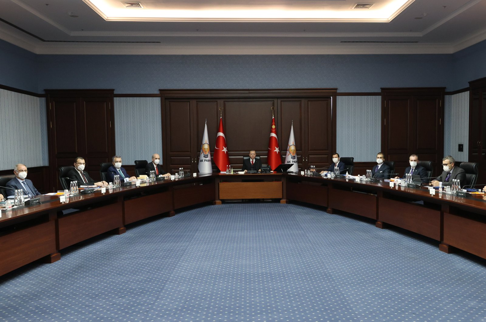 The AK Party's Central Executive Committee (MYK) attends a meeting led by President Recep Tayyip Erdoğan, Ankara, Turkey, Jan. 5, 2021. (AA Photo)