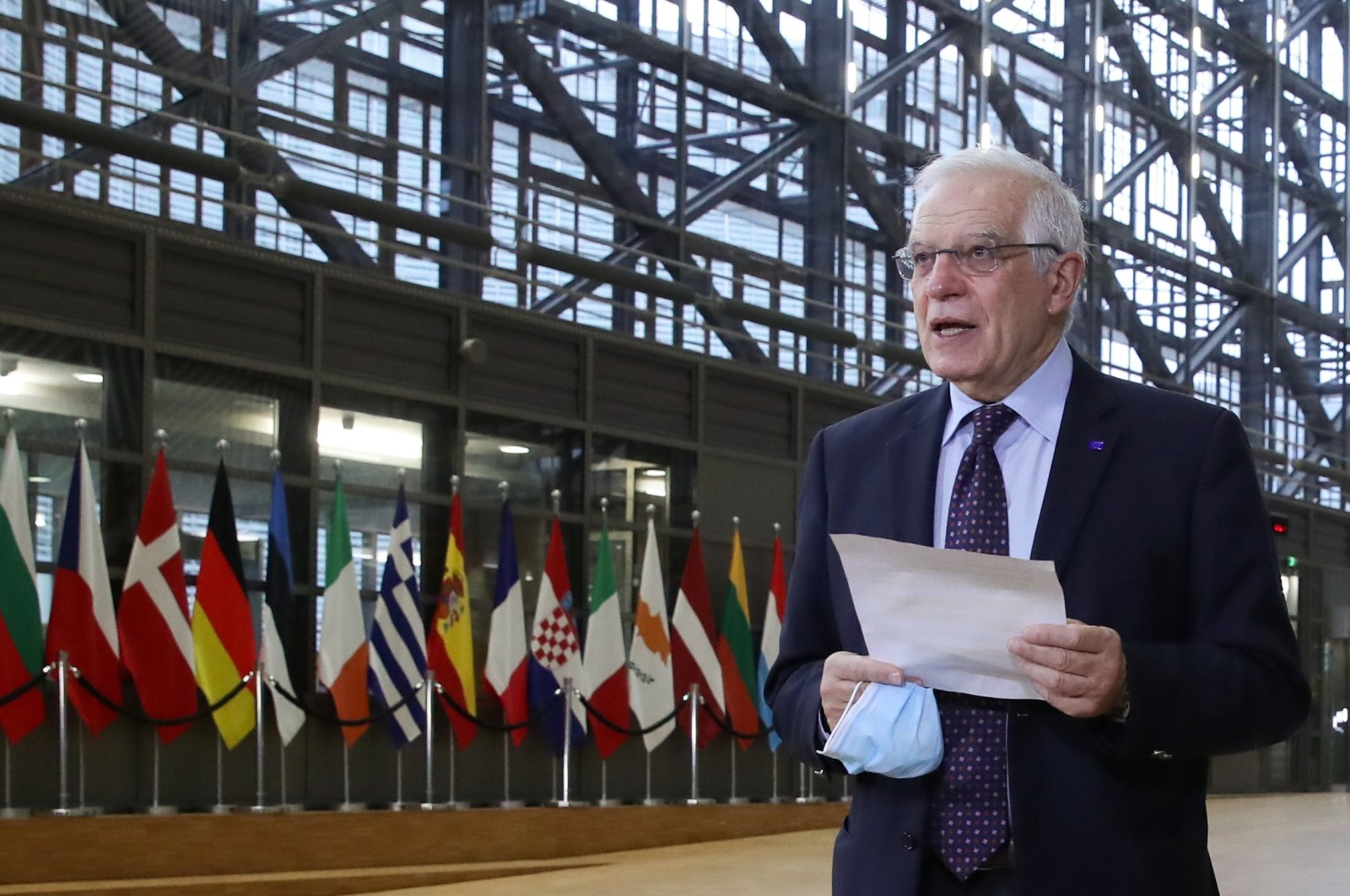 European Union High Representative for Foreign Affairs and Security Policy Josep Borrell speaks to the media as he arrives to attend an EU foreign ministers meeting in Brussels, Belgium, Feb. 22, 2021. (Reuters Photo)
