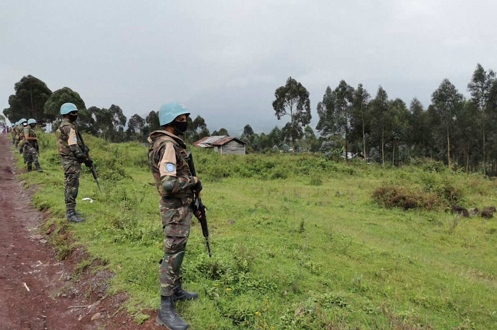 Moroccan soldiers of the MONUSCO (United Nations Organization Stabilization Mission in the DR Congo) patrol the road in the Kibumba area in the Virunga National Park, 25 kilometers (15.5 miles) from Goma, Feb. 22, 2021. (AFP Photo)