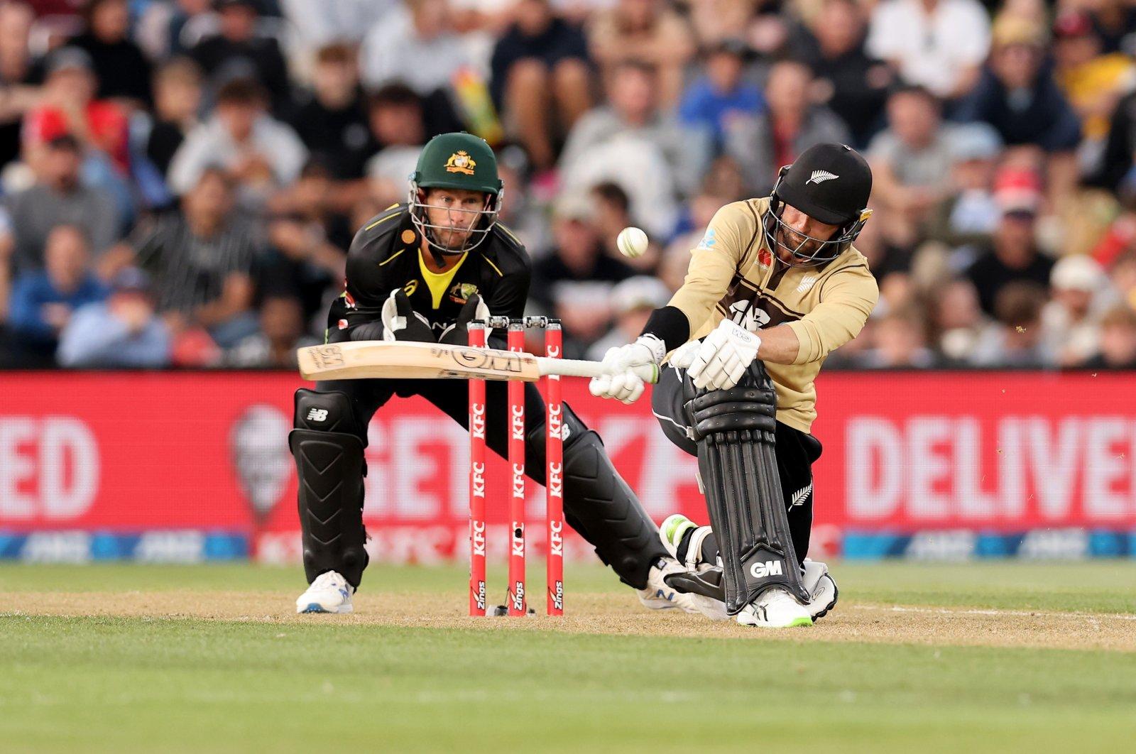 New Zealand's Devon Conway bats during the 1st T20 match against Australia at Hagley Park, Christchurch, New Zealand, Feb. 22, 2021. (EPA Photo)