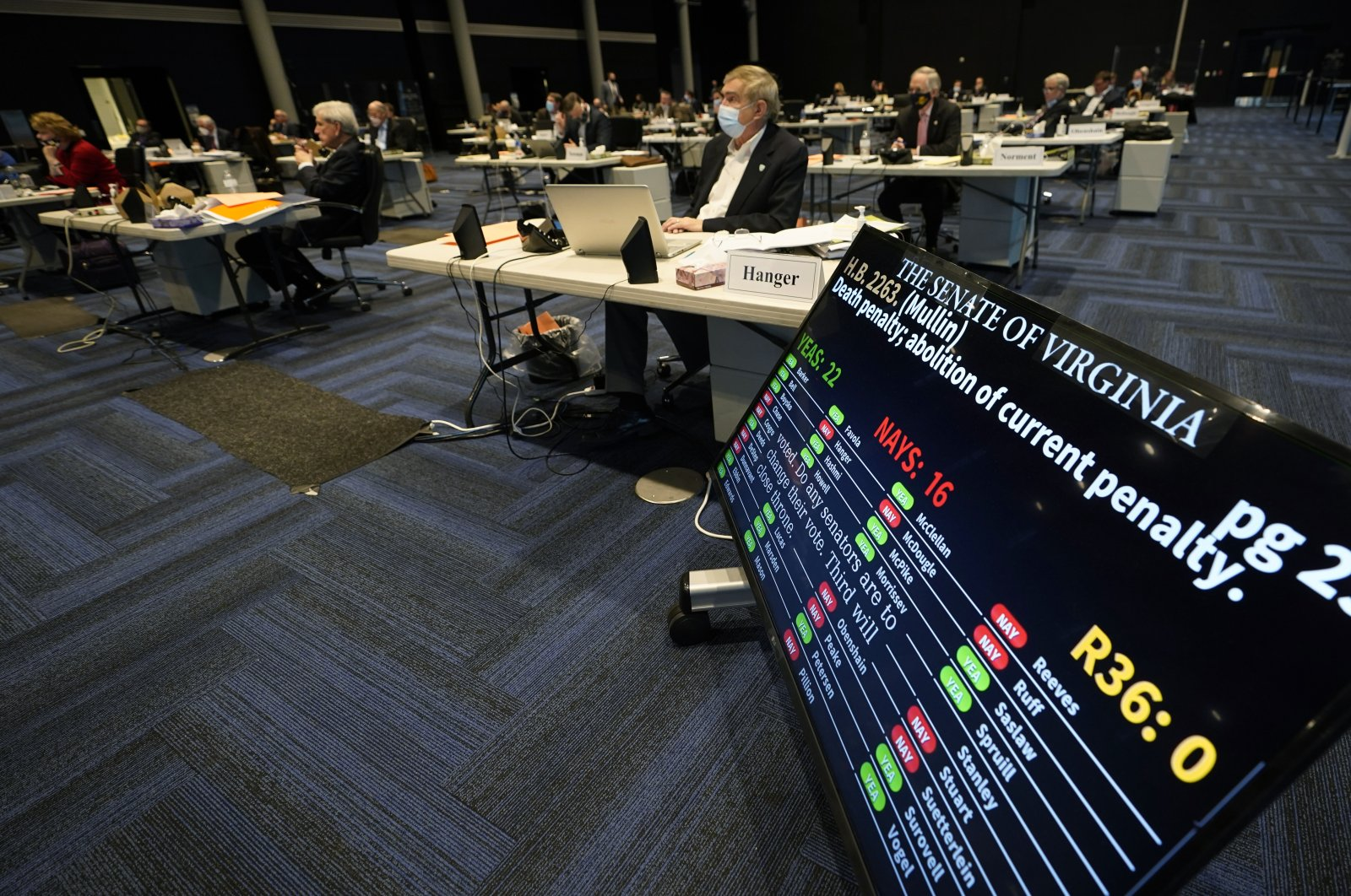 Virginia State Sen. Emmett Hanger, R-Augusta (front) looks at the vote tally board during a vote on a death penalty abolition bill at the Senate session at the Science Museum of Virginia in Richmond, Va., Monday, Feb. 22, 2021. (AP Photo)