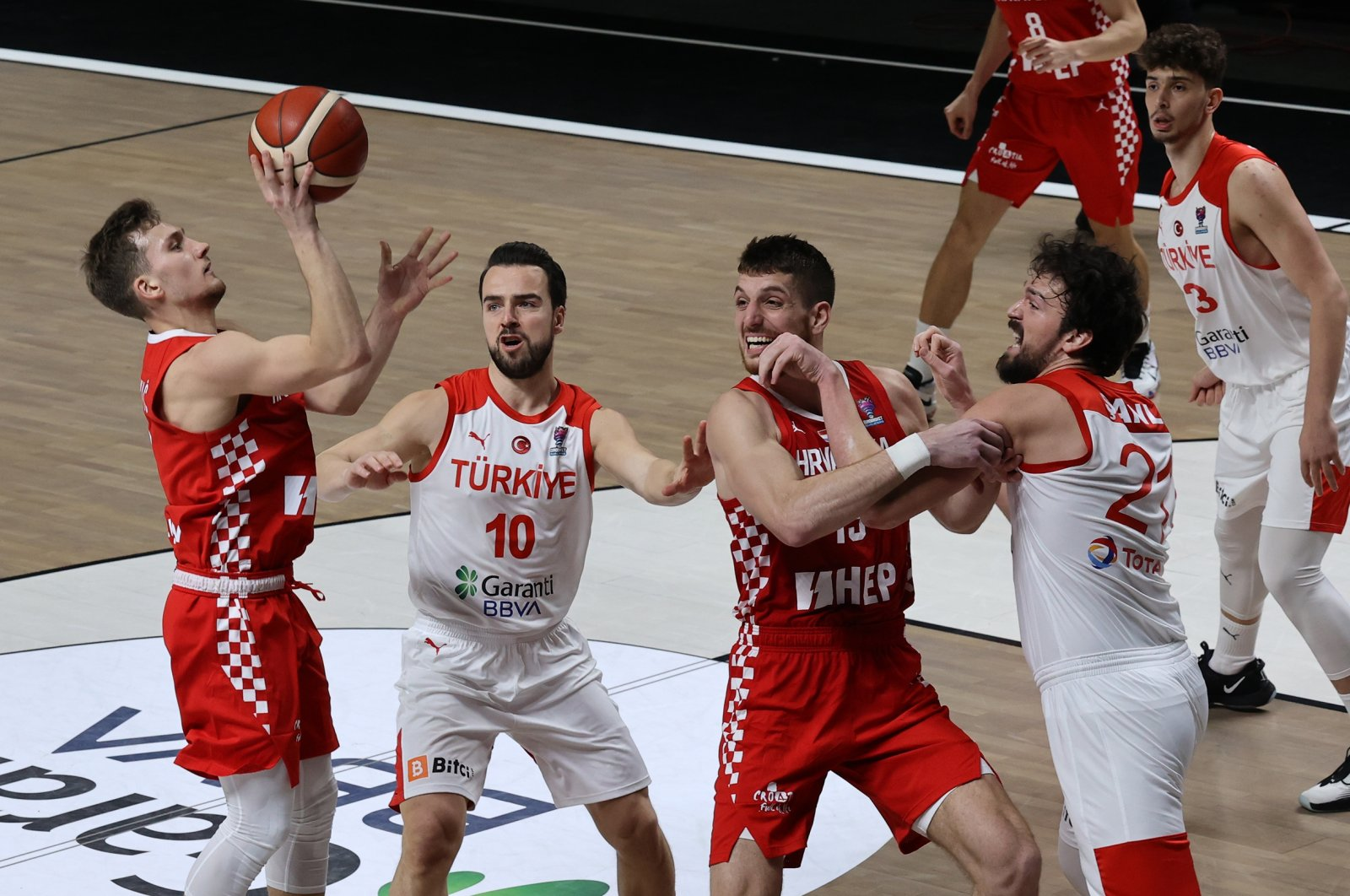 Turkish and Croatian national teams play in the 6th and last Group D qualifiers in EuroBasket in BJK Akatlar Sports Complex, Istanbul, Turkey, Feb. 22, 2021 (AA Photo)